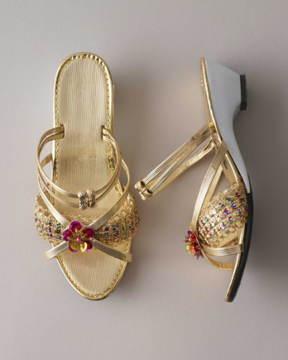 Home girls gold sequin shoes